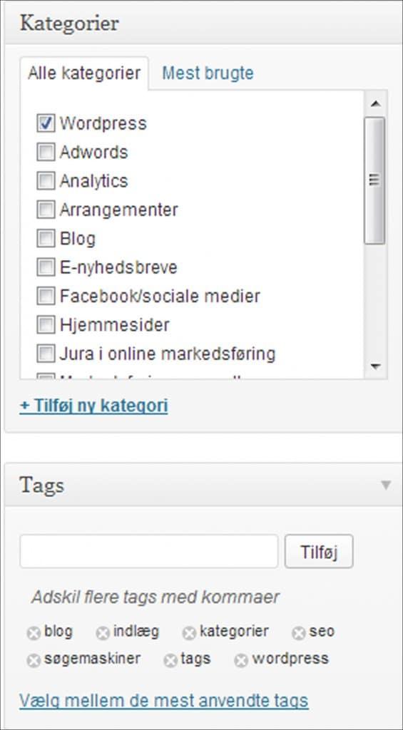 SEO med kategorier og tags i WordPress