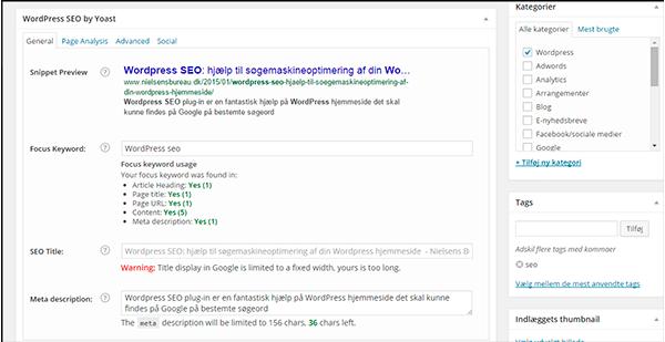 Wordpress SEO felterne der udfyldes for hvert blogindlæg