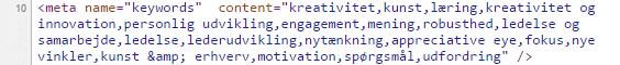 META-keywords i kildekoden til hjemmeside