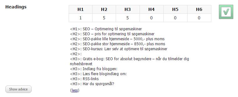 Overskrifter med H1, H2 og andre H-koder, SEOdiagnose