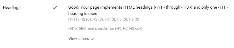 SEO overskrifter - test dine H-koder med SEo quake