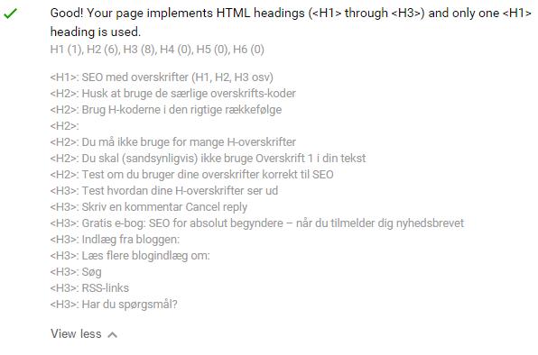 Se alle h-overskrifter med SEO quake