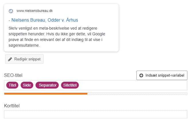 I Yoast SEO i WordPress kaldes sidetitlen for SEO-titel