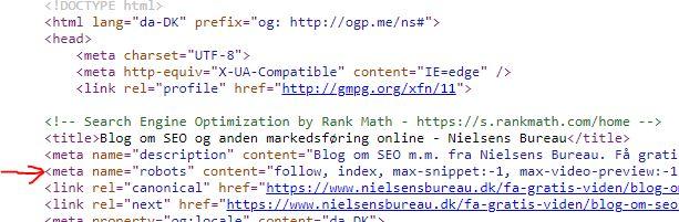 Se i kildekoden om din hjemmeside er indstillet til ikke at komme med i Googles indeks