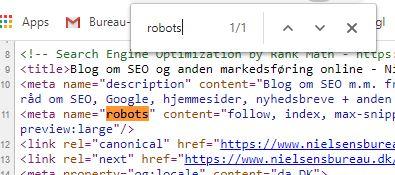 Se om din hjemmeside har noindex ved robots-metakoden