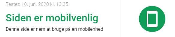 Grøn telefon, når Google mener din hjemmeside er mobilvenlig