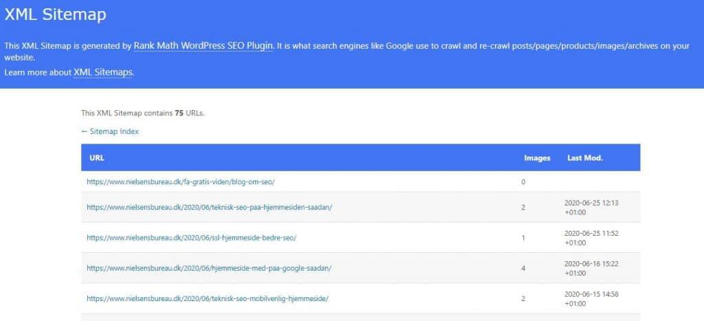 XML-sitemap over blogindlæg (blog posts) lavet via Rank Math
