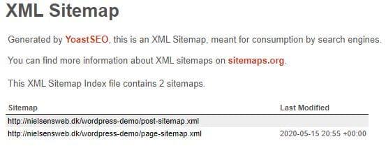 XML-sitemap index lavet via Yaost SEO-plugin
